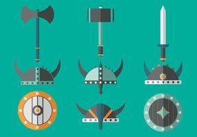 Viking Barbarian Flat icons vetor