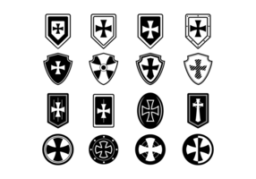 Ícones do escudo do Templário vetor