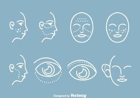 Ícones de cirurgia plástica cosmética vetor