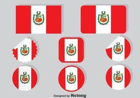 Coleção de bandeira do Peru vetor