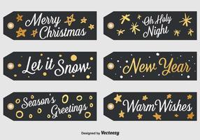 Conjunto de 6 etiquetas pretas de Natal vetor