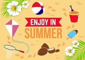Ilustração plana livre do vetor do verão