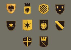 Blason flat icon set vetor