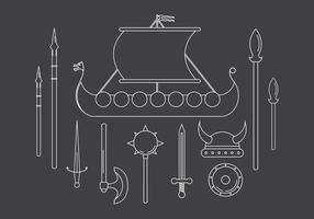 Conjunto vetorial de ícones viking vetor