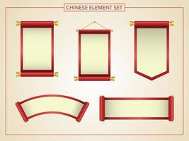 pergaminho chinês com vermelho e amarelo vetor