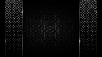 barras verticais brilhantes sobre o padrão de cubo preto vetor