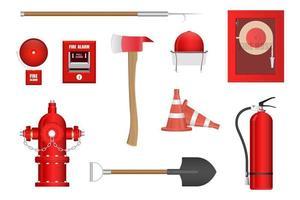 conjunto de equipamentos de combate a incêndios vetor