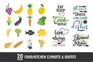 ícones e citações de comida e cozinha