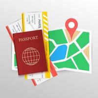 passaporte e cartões de embarque no mapa com alfinete