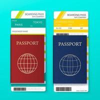 cartão de embarque e conjunto de passaporte