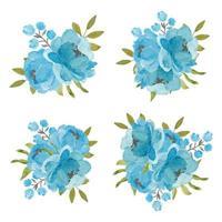 conjunto de buquês de flores de peônia azul no branco
