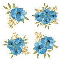 aquarela pintada à mão conjunto de buquê de flor azul