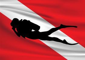 Ícone da bandeira e do mergulhador do mergulho do vetor