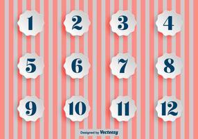 Pontos de bala de papel com números com números vetor