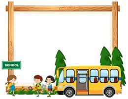 crianças andando de ônibus escolar vetor