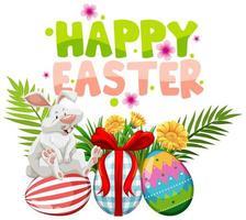 design de Páscoa com coelho branco em ovos pintados