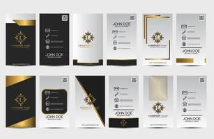 conjunto de cartão vertical branco e preto com ornamentos vintage vetor