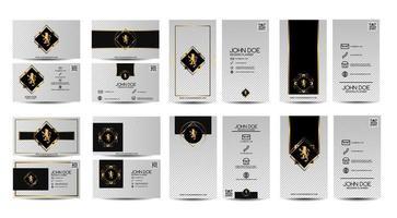 conjunto de cartão branco com ornamentos vintage vetor