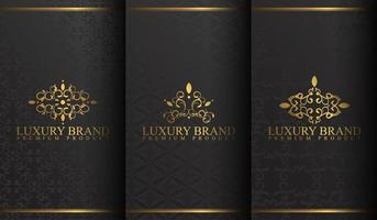 conjunto de desenhos de logotipo preto e dourado de luxo