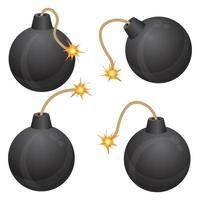 bomba com conjunto de fusíveis em chamas vetor