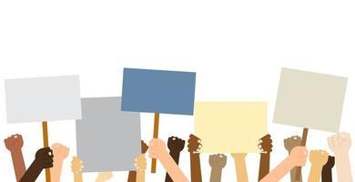 mãos segurando cartazes de protesto