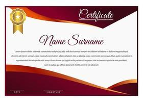 modelo de certificado de gradiente vermelho e laranja elegante