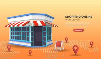 compras on-line conceito com loja de varejo