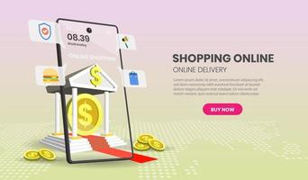 banca on-line e conceito de compras vetor