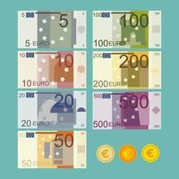 conjunto de notas de moeda do euro vetor