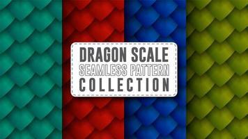 coleção de padrão sem emenda de escala de dragão vetor