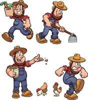 conjunto de fazendeiro dos desenhos animados vetor