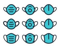 máscaras médicas plano cheio conjunto de ícones com contornos vetor