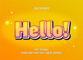 texto editável em amarelo com efeito gradiente e contornos vetor