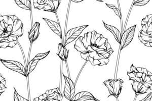 lisianthus mão desenhada botânica padrão sem emenda vetor