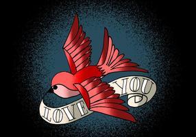 Bird and Banner Tattoo Art vetor