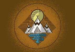Emblema ao ar livre Teepee vetor