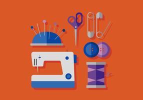 Máquina de costura de vetores e elementos