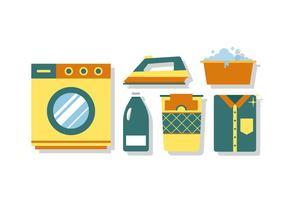 Elementos da lavanderia do vetor