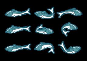 Ícones de peixe de cavala vetor
