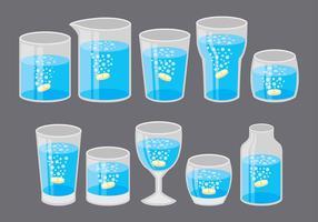 Ícones de copos efervescentes vetor