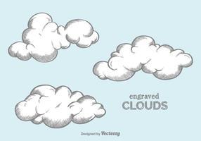 Nuvens gravadas em vetores grátis