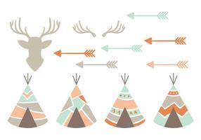 Ícones do vetor nativo americano