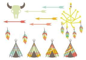 Ícones de vetor tipi e nativo americano