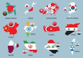 Mapas da Ásia vetor