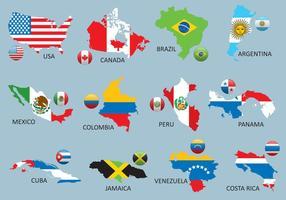 Mapas das Américas vetor