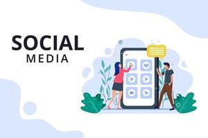 página de destino do gerenciamento de conteúdo de mídia social vetor