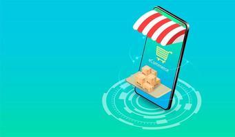 compras on-line em smartphone com sistema de comércio eletrônico vetor