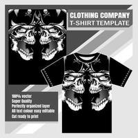 modelo de t-shirt de cabeças de pirata de caveira