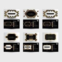 cartões de visita preto e branco com ornamentos de ouro