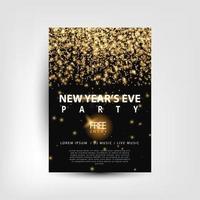 panfleto de festa de véspera de ano novo com luzes douradas